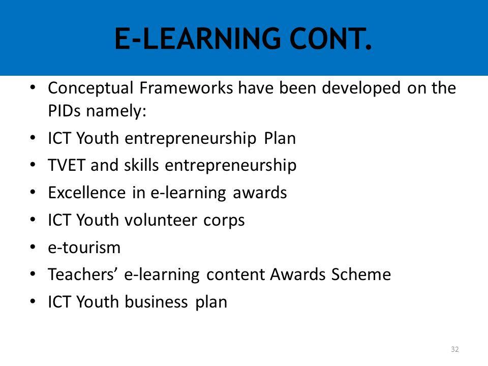 Conceptual Frameworks have been developed on the PIDs namely: ICT Youth entrepreneurship Plan TVET and skills entrepreneurship Excellence in e-learnin