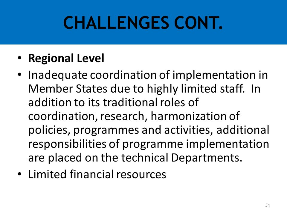 Regional Level Inadequate coordination of implementation in Member States due to highly limited staff. In addition to its traditional roles of coordin