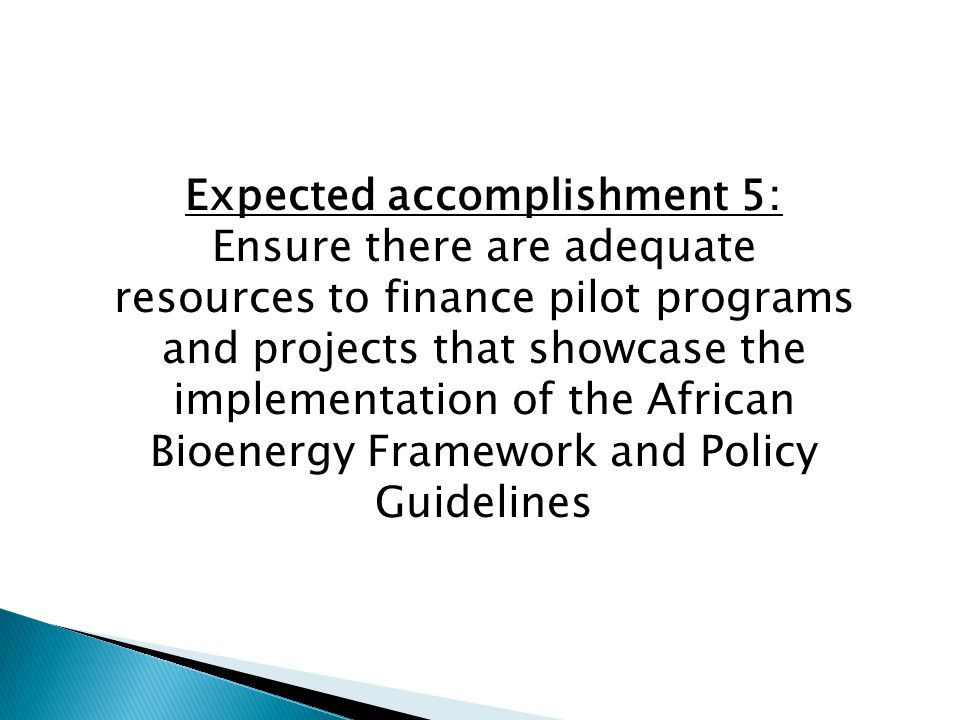 Expected accomplishment 5: Ensure there are adequate resources to finance pilot programs and projects that showcase the implementation of the African Bioenergy Framework and Policy Guidelines