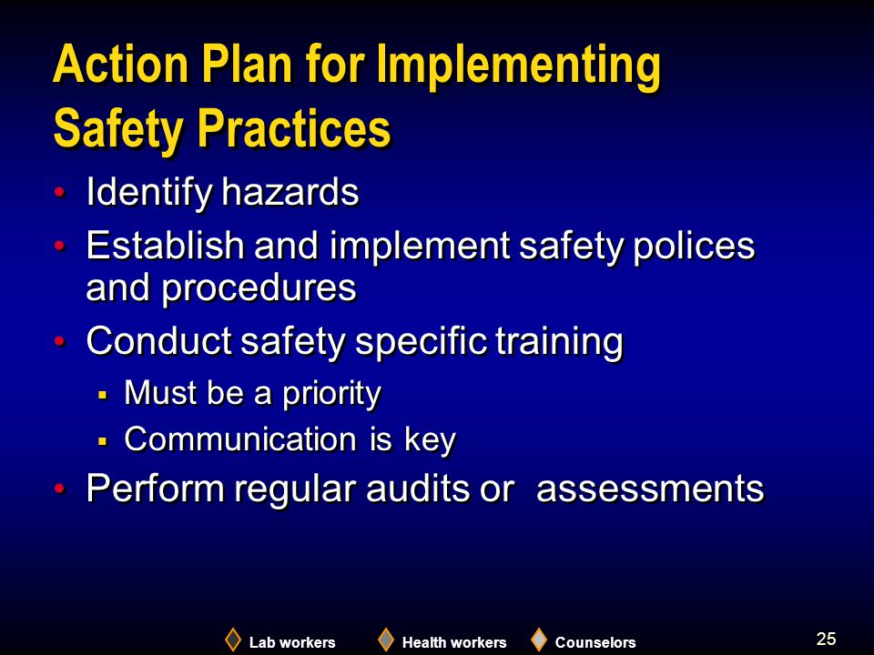 Lab workersHealth workersCounselors 25 Action Plan for Implementing Safety Practices Identify hazards Establish and implement safety polices and procedures Conduct safety specific training  Must be a priority  Communication is key Perform regular audits or assessments Identify hazards Establish and implement safety polices and procedures Conduct safety specific training  Must be a priority  Communication is key Perform regular audits or assessments