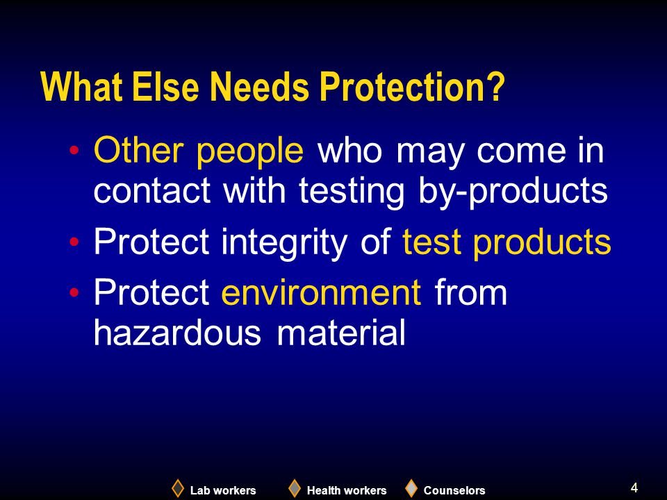 Lab workersHealth workersCounselors 4 What Else Needs Protection.