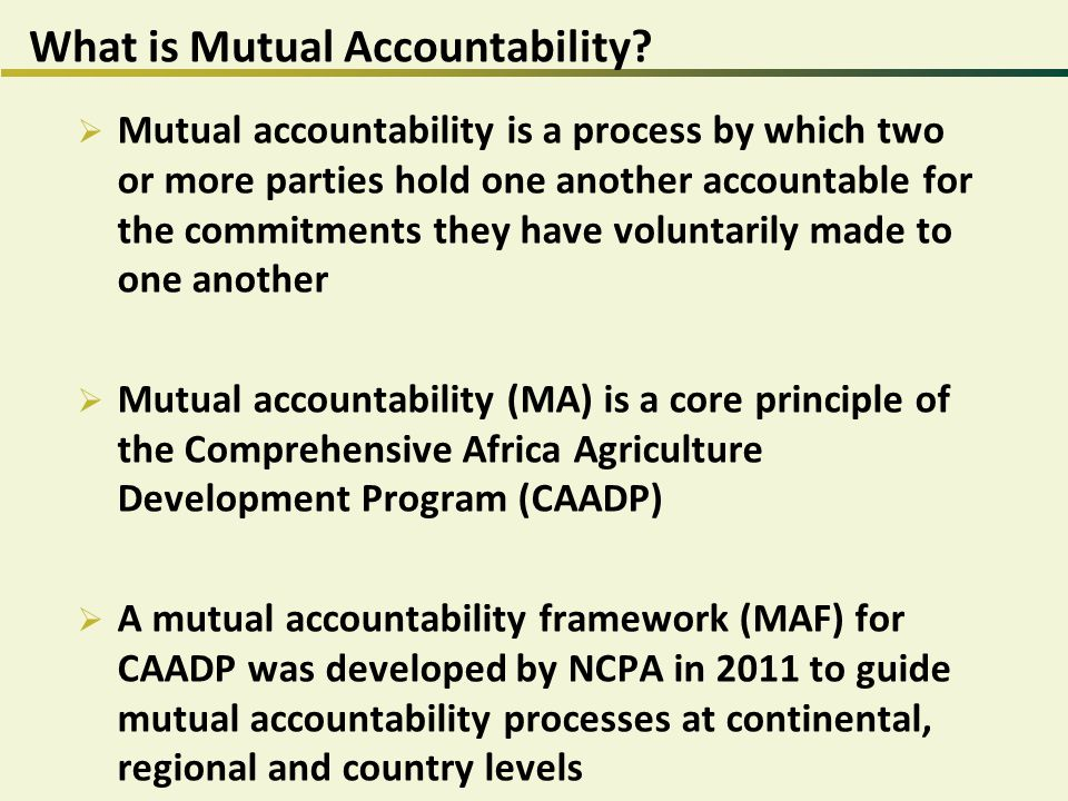 What is Mutual Accountability.