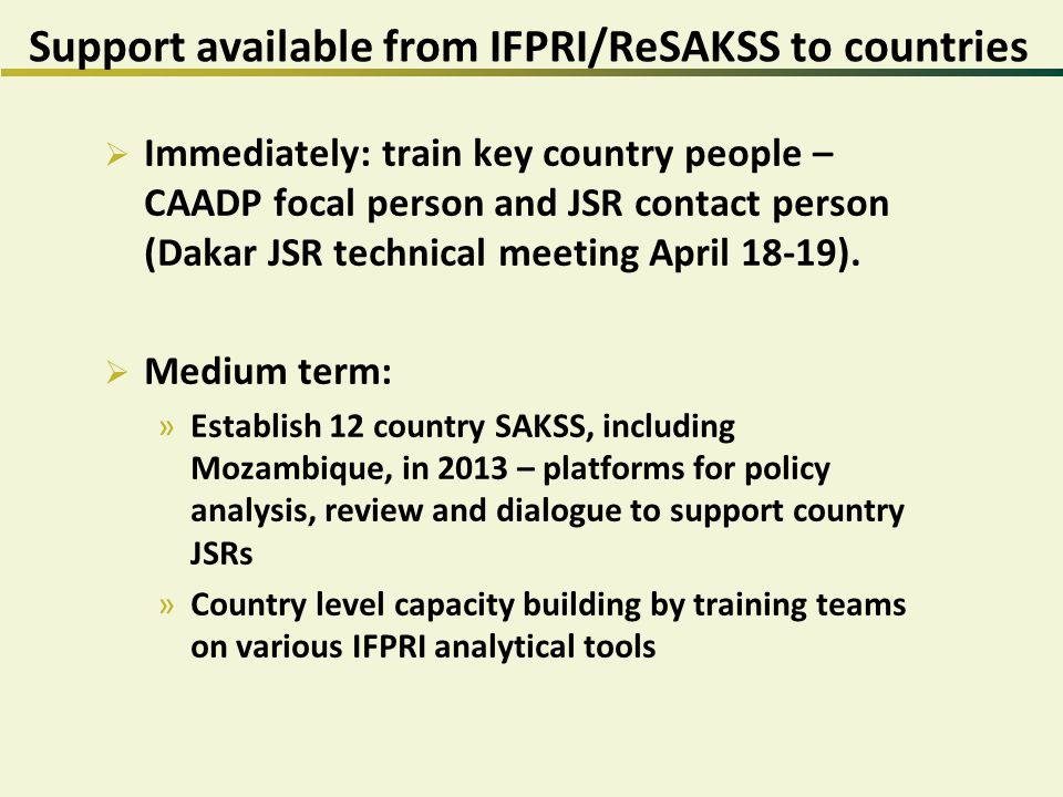 Support available from IFPRI/ReSAKSS to countries  Immediately: train key country people – CAADP focal person and JSR contact person (Dakar JSR technical meeting April 18-19).