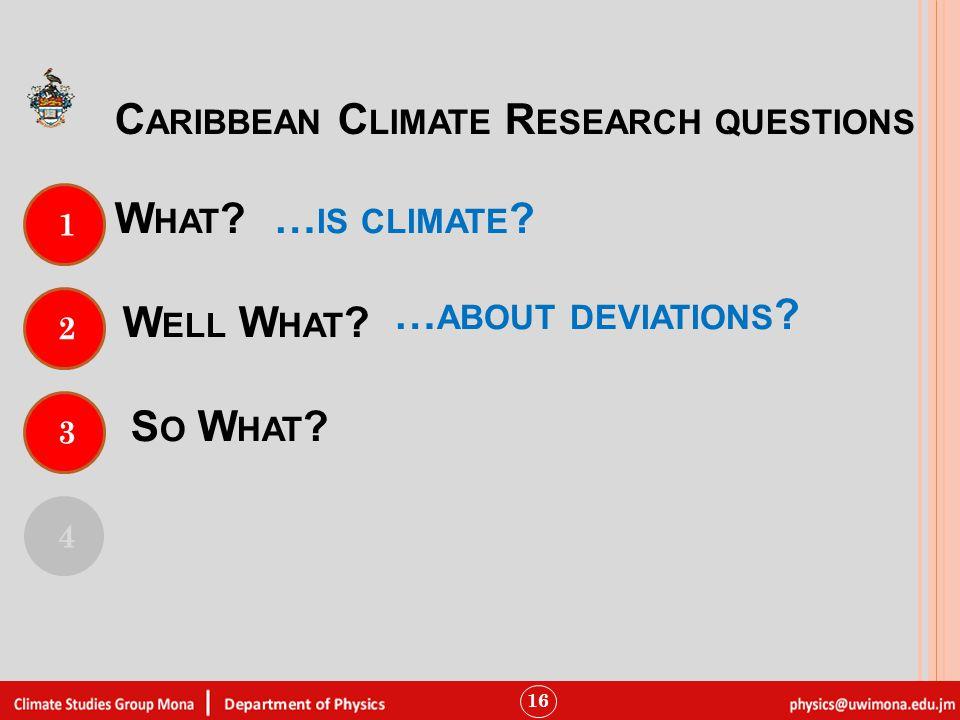 W HAT . 16 1 4 C ARIBBEAN C LIMATE R ESEARCH QUESTIONS 2 W ELL W HAT .
