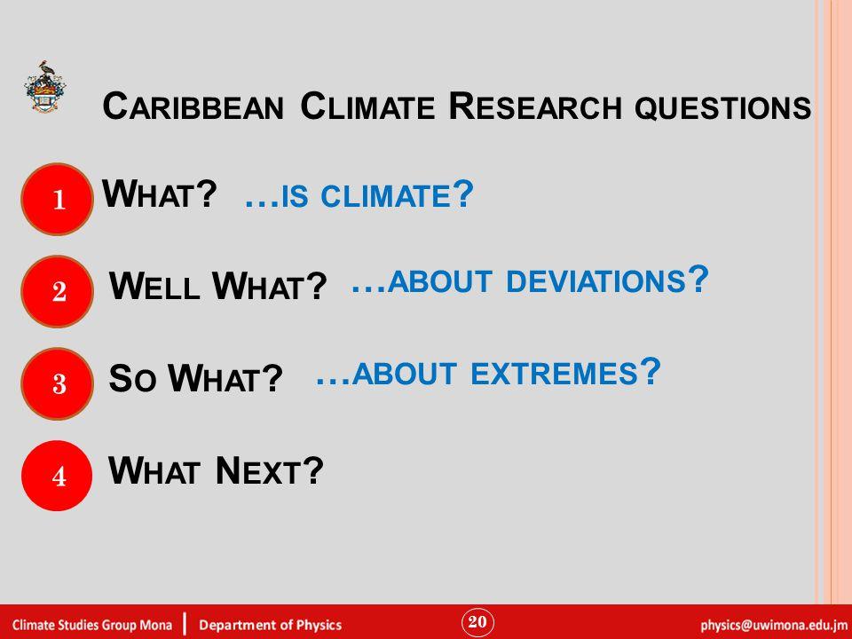 W HAT . 20 1 C ARIBBEAN C LIMATE R ESEARCH QUESTIONS 2 W ELL W HAT .