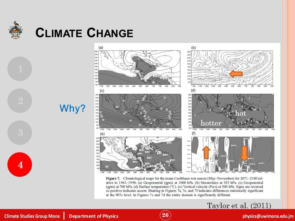 26 hot hotter Taylor et al. (2011) C LIMATE C HANGE 1 4 2 3 Why?