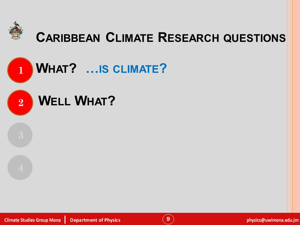 W HAT 9 1 3 4 C ARIBBEAN C LIMATE R ESEARCH QUESTIONS 2 W ELL W HAT … IS CLIMATE