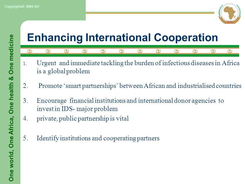 One world, One Africa, One health & One medicine Copyrights© 2004 AU Enhancing International Cooperation 1.