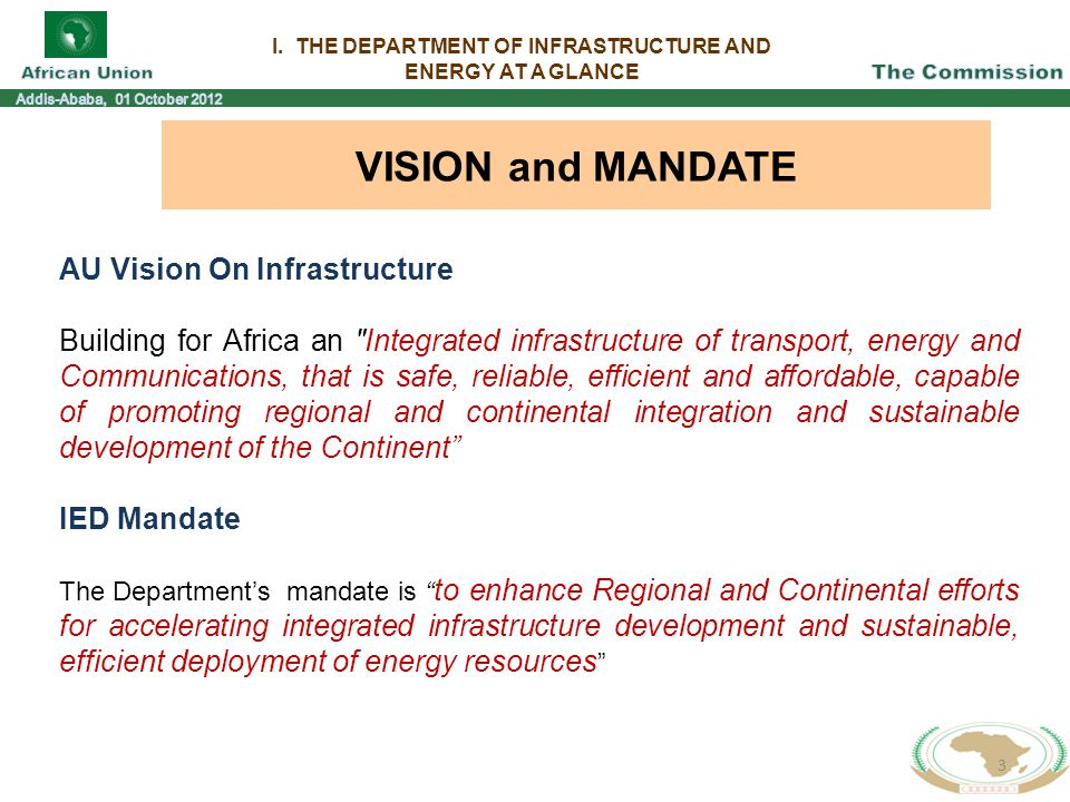 I. THE DEPARTMENT OF INFRASTRUCTURE AND ENERGY AT A GLANCE 3 VISION and MANDATE AU Vision On Infrastructure Building for Africa an