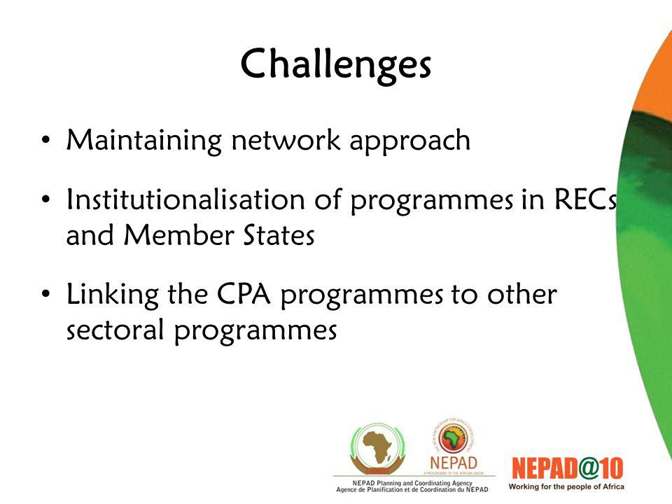 Challenges Maintaining network approach Institutionalisation of programmes in RECs and Member States Linking the CPA programmes to other sectoral programmes