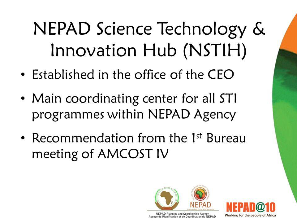 NEPAD Science Technology & Innovation Hub (NSTIH) Established in the office of the CEO Main coordinating center for all STI programmes within NEPAD Agency Recommendation from the 1 st Bureau meeting of AMCOST IV