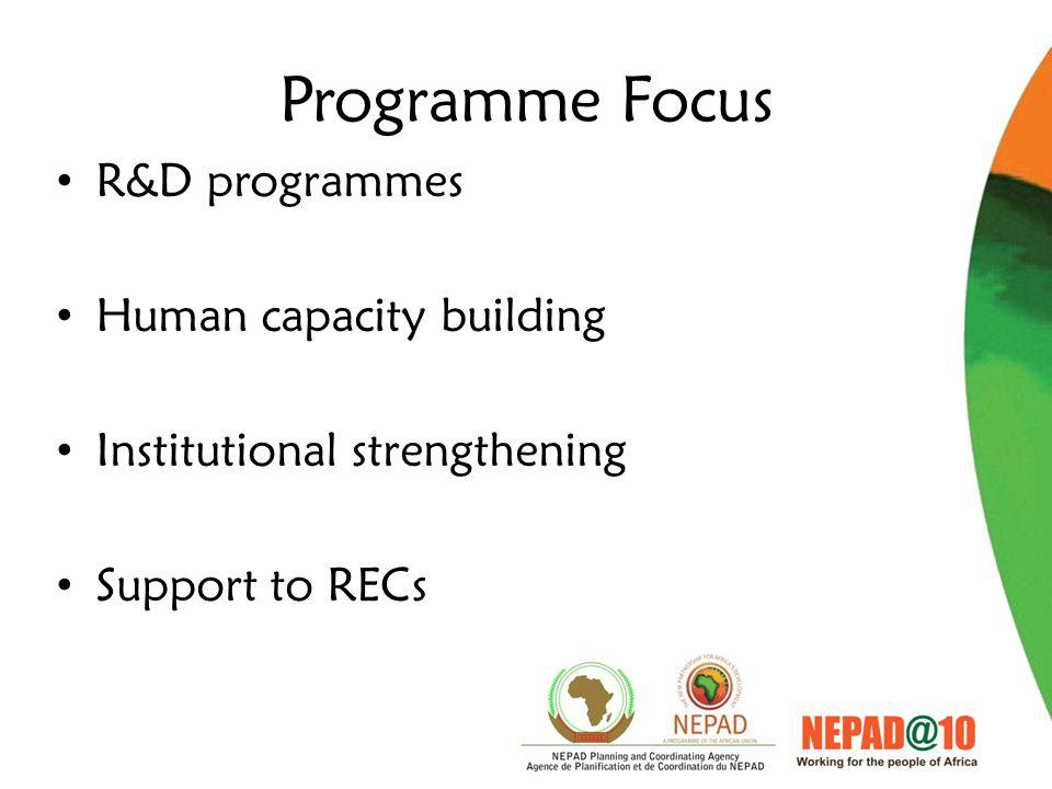 Programme Focus R&D programmes Human capacity building Institutional strengthening Support to RECs