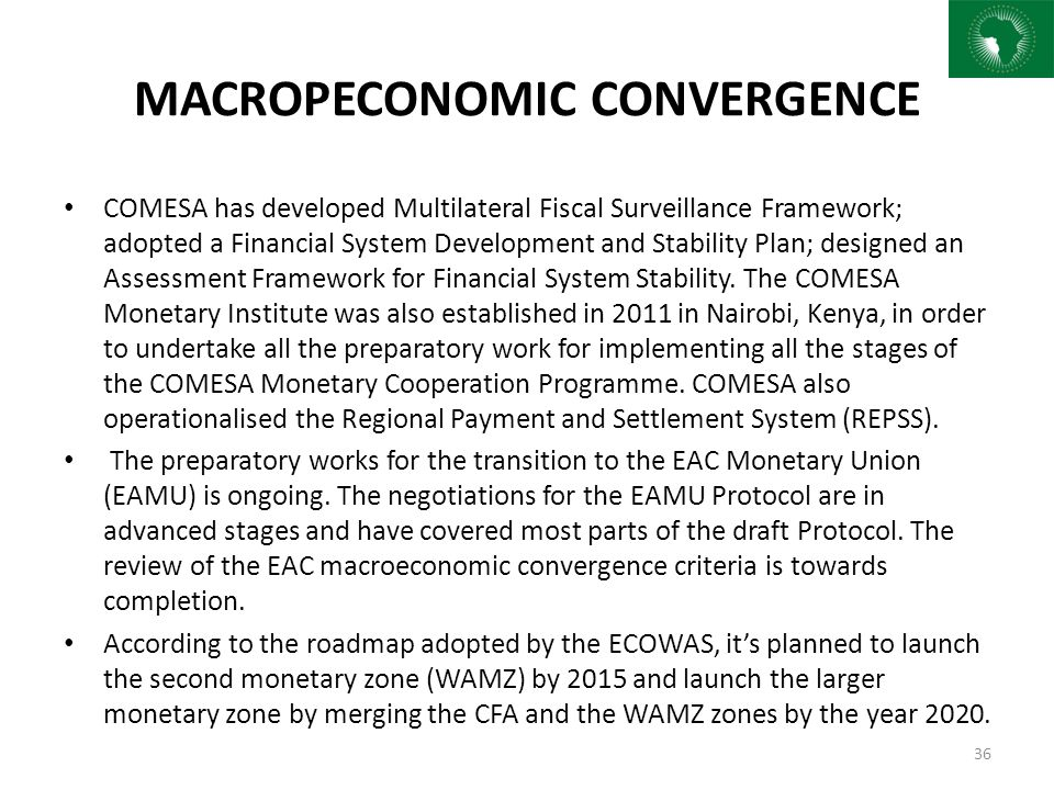 MACROPECONOMIC CONVERGENCE COMESA has developed Multilateral Fiscal Surveillance Framework; adopted a Financial System Development and Stability Plan;