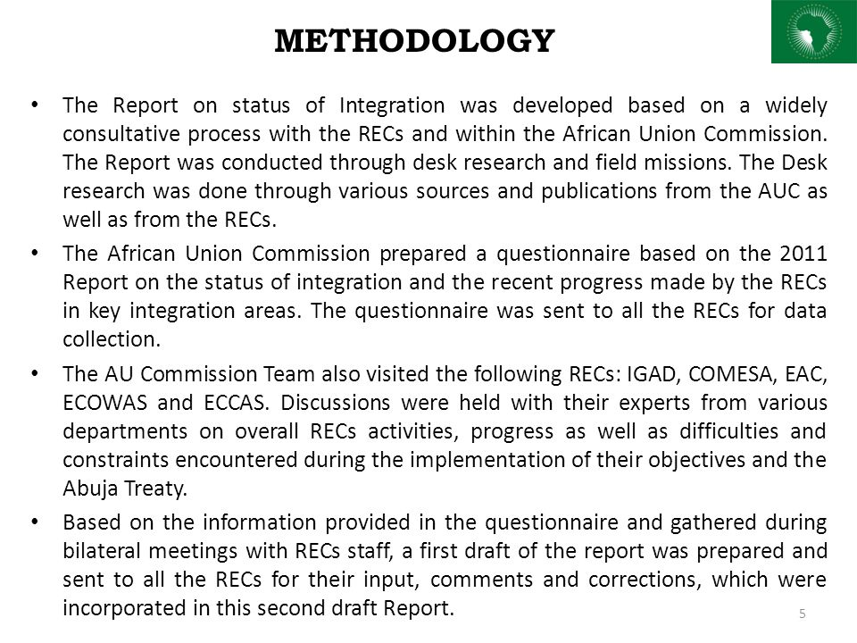 STRUCTURE OF THE REPORT This report is structured around three parts The first part of the report is dedicated to the status of integration per Sector at regional level.