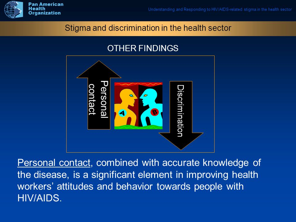 Understanding and Responding to HIV/AIDS-related stigma in the health sector Pan American Health Organization Personal contact, combined with accurate knowledge of the disease, is a significant element in improving health workers' attitudes and behavior towards people with HIV/AIDS.