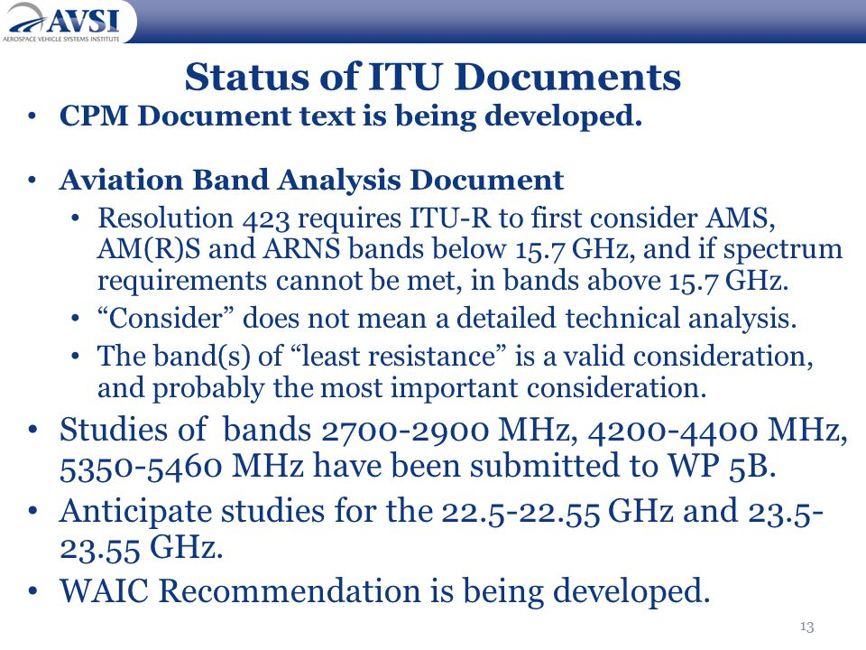 13 Status of ITU Documents CPM Document text is being developed.