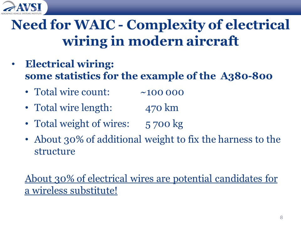 8 Need for WAIC - Complexity of electrical wiring in modern aircraft Electrical wiring: some statistics for the example of the A380-800 Total wire count:~100 000 Total wire length:470 km Total weight of wires: 5 700 kg About 30% of additional weight to fix the harness to the structure About 30% of electrical wires are potential candidates for a wireless substitute.