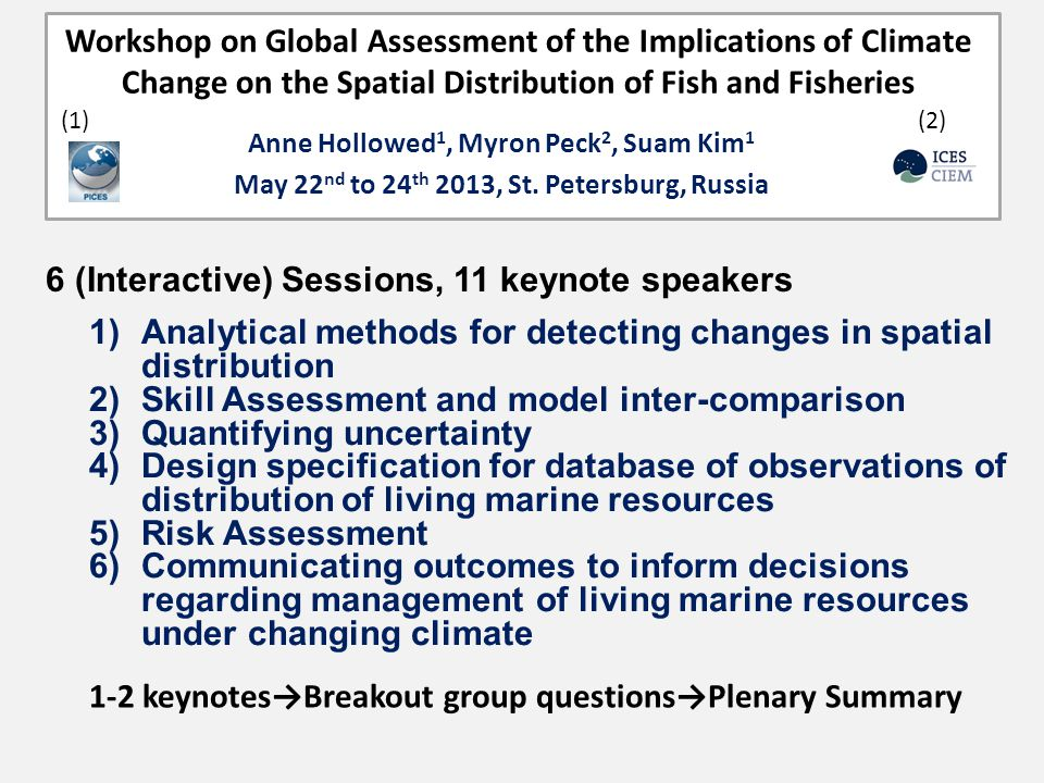 Workshop on Global Assessment of the Implications of Climate Change on the Spatial Distribution of Fish and Fisheries Anne Hollowed 1, Myron Peck 2, Suam Kim 1 May 22 nd to 24 th 2013, St.