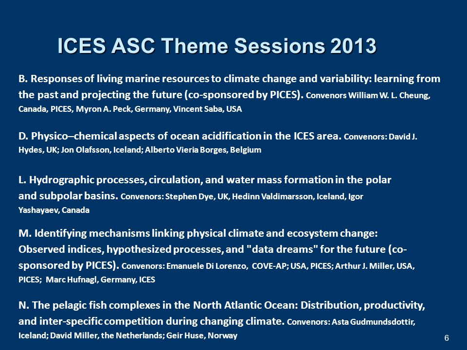 7 Workshops in PICES Annual Meeting 2013 (co-sponsored by ICES) Workshop (W1).