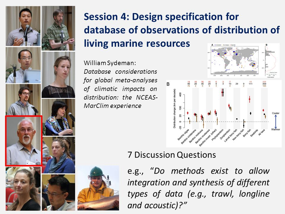 William Sydeman: Database considerations for global meta-analyses of climatic impacts on distribution: the NCEAS- MarClim experience 7 Discussion Questions e.g., Do methods exist to allow integration and synthesis of different types of data (e.g., trawl, longline and acoustic) Session 4: Design specification for database of observations of distribution of living marine resources