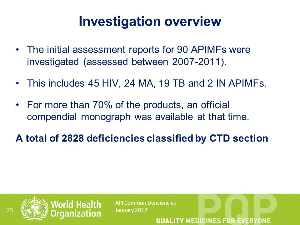 The initial assessment reports for 90 APIMFs were investigated (assessed between 2007-2011). This includes 45 HIV, 24 MA, 19 TB and 2 IN APIMFs. For m