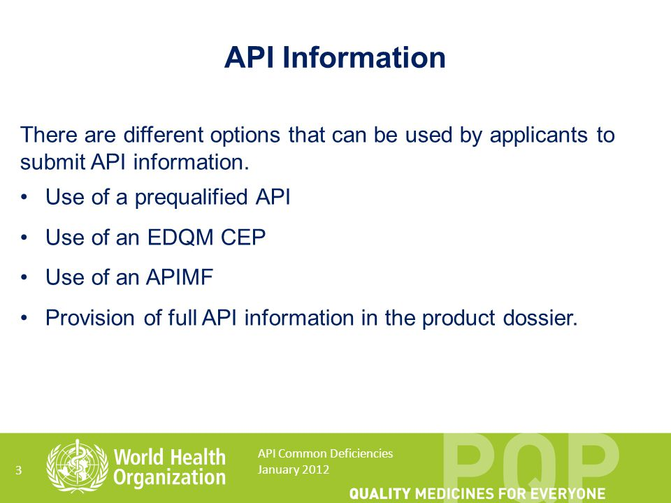 14 API Common Deficiencies January 2012 API starting material API intermediate(s) Final API intermediate Final API Crude API Manufacturing Process A detailed and complete flow diagram is required A detailed narrative description is required.
