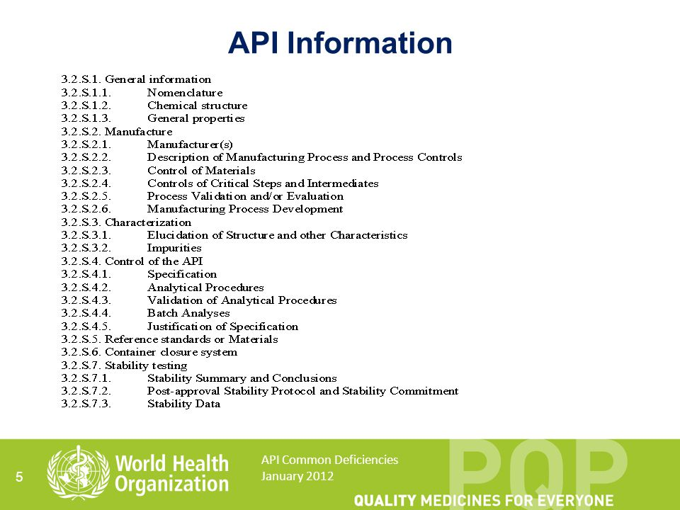 Potential impurities 16 API Common Deficiencies January 2012 API starting material API intermediate Crude API Final API Reagents Solvents Catalysts Reagents Solvents Catalysts Crystallisation solvent API SM impurities Reaction by-products Degradation products