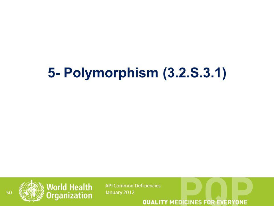 50 5- Polymorphism (3.2.S.3.1) API Common Deficiencies January 2012