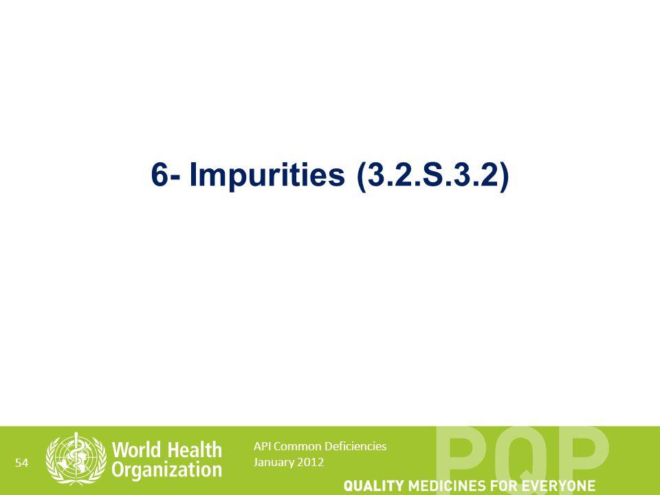 54 6- Impurities (3.2.S.3.2) API Common Deficiencies January 2012