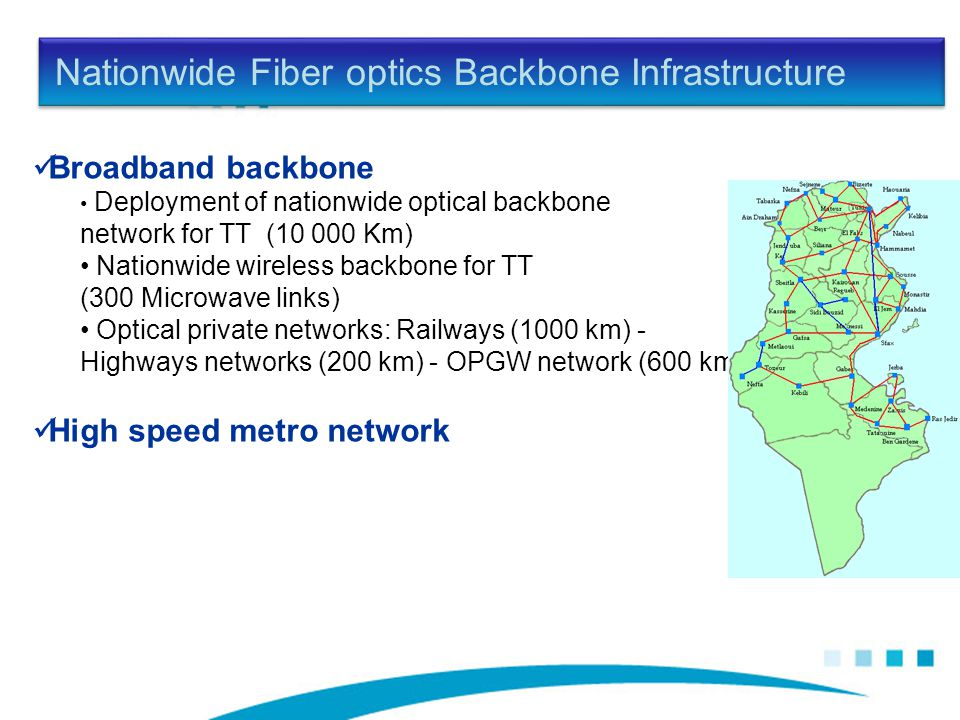 Nationwide Fiber optics Backbone Infrastructure Broadband backbone Deployment of nationwide optical backbone network for TT (10 000 Km) Nationwide wireless backbone for TT (300 Microwave links) Optical private networks: Railways (1000 km) - Highways networks (200 km) - OPGW network (600 km) High speed metro network