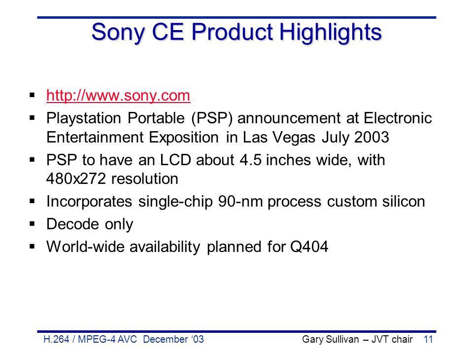 H.264 / MPEG-4 AVC December '03 Gary Sullivan – JVT chair11 Sony CE Product Highlights  http://www.sony.com http://www.sony.com  Playstation Portabl