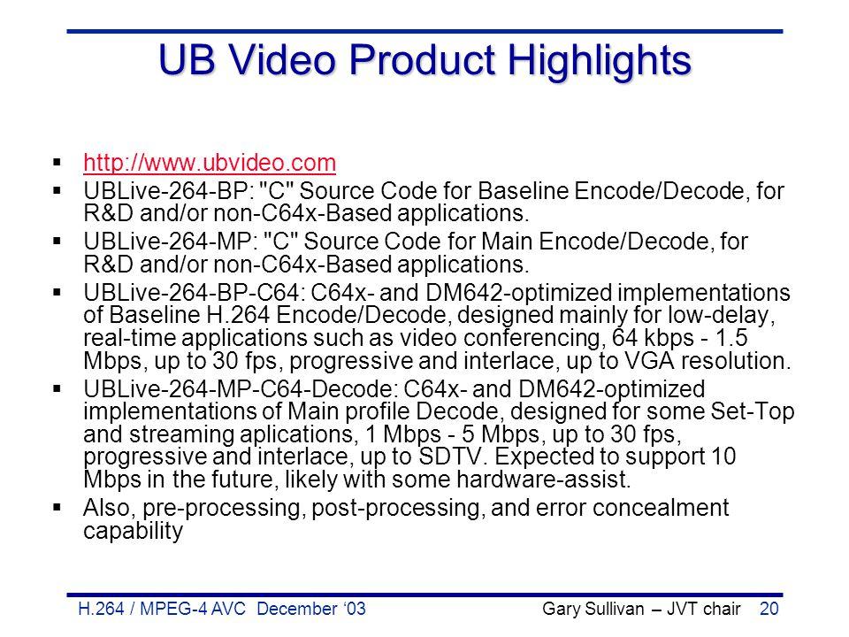 H.264 / MPEG-4 AVC December '03 Gary Sullivan – JVT chair20 UB Video Product Highlights  http://www.ubvideo.com http://www.ubvideo.com  UBLive-264-B