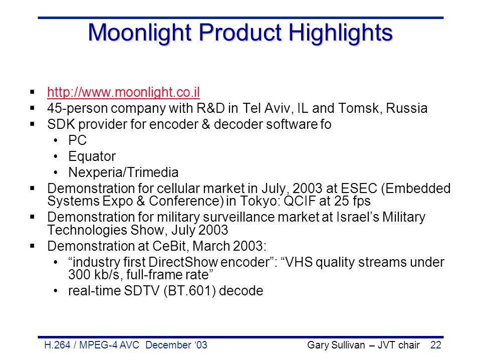 H.264 / MPEG-4 AVC December '03 Gary Sullivan – JVT chair22 Moonlight Product Highlights  http://www.moonlight.co.il http://www.moonlight.co.il  45-