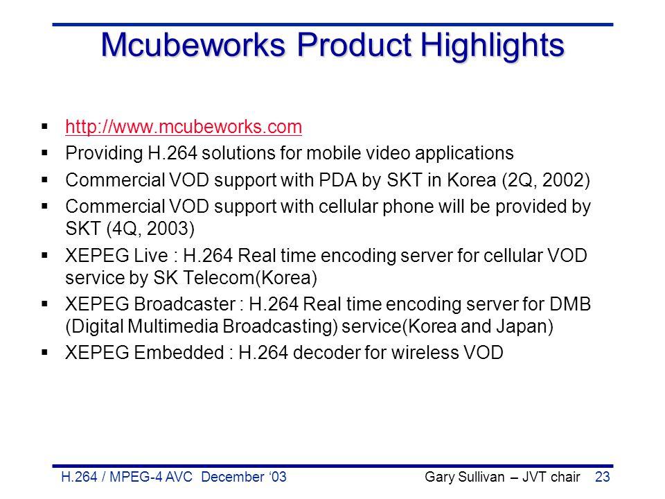H.264 / MPEG-4 AVC December '03 Gary Sullivan – JVT chair23 Mcubeworks Product Highlights  http://www.mcubeworks.com http://www.mcubeworks.com  Prov