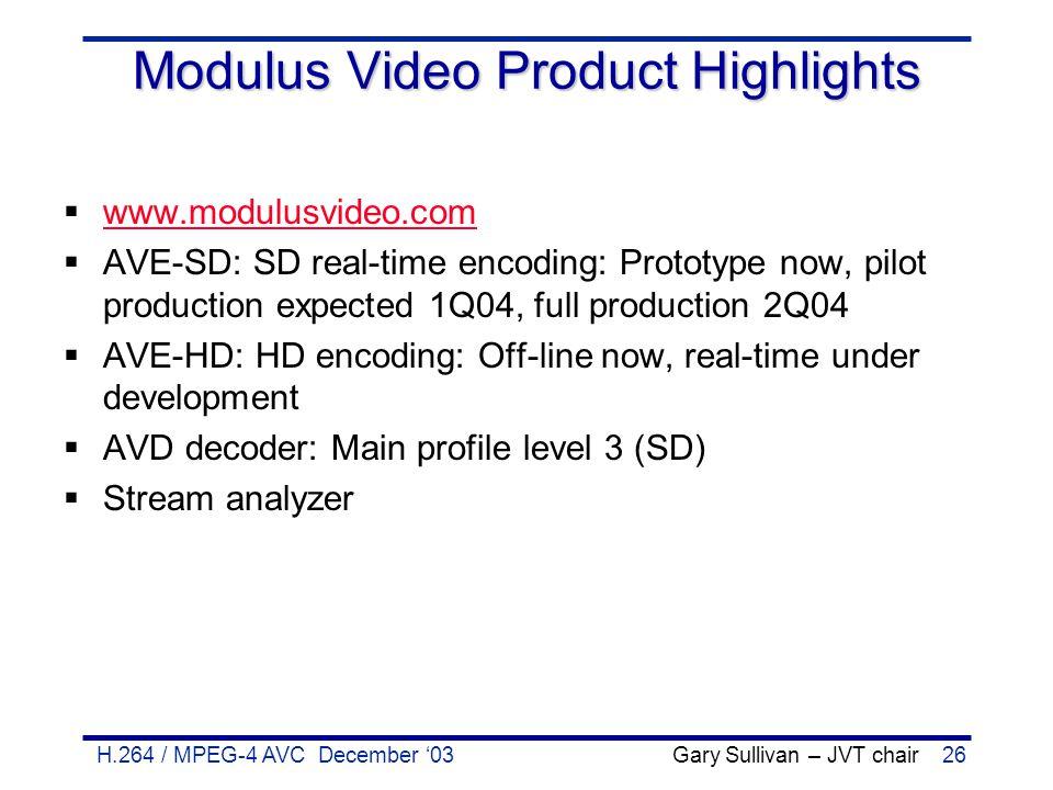 H.264 / MPEG-4 AVC December '03 Gary Sullivan – JVT chair26 Modulus Video Product Highlights  www.modulusvideo.com www.modulusvideo.com  AVE-SD: SD