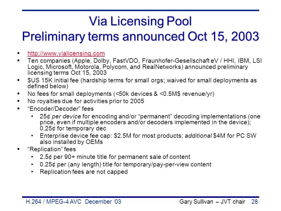 H.264 / MPEG-4 AVC December '03 Gary Sullivan – JVT chair28 Via Licensing Pool Preliminary terms announced Oct 15, 2003  http://www.vialicensing.com