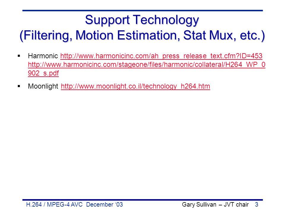 H.264 / MPEG-4 AVC December '03 Gary Sullivan – JVT chair3 Support Technology (Filtering, Motion Estimation, Stat Mux, etc.)  Harmonic http://www.har