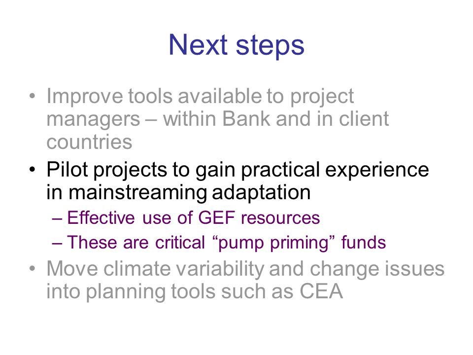 Next steps Improve tools available to project managers – within Bank and in client countries Pilot projects to gain practical experience in mainstreaming adaptation –Effective use of GEF resources –These are critical pump priming funds Move climate variability and change issues into planning tools such as CEA