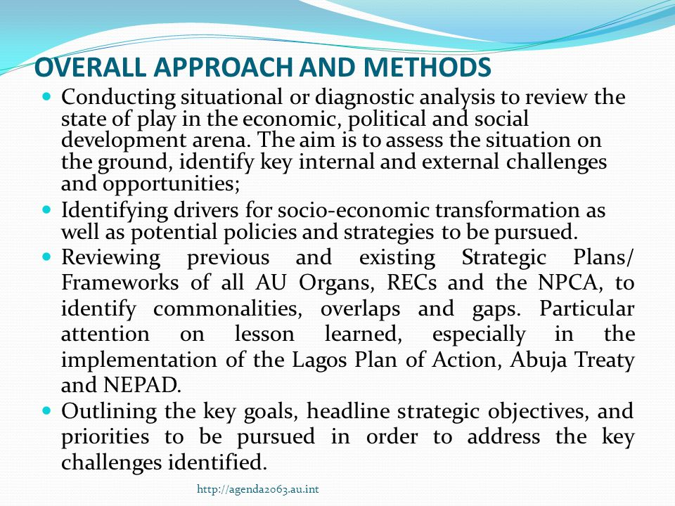 OVERALL APPROACH AND METHODS Conducting situational or diagnostic analysis to review the state of play in the economic, political and social development arena.