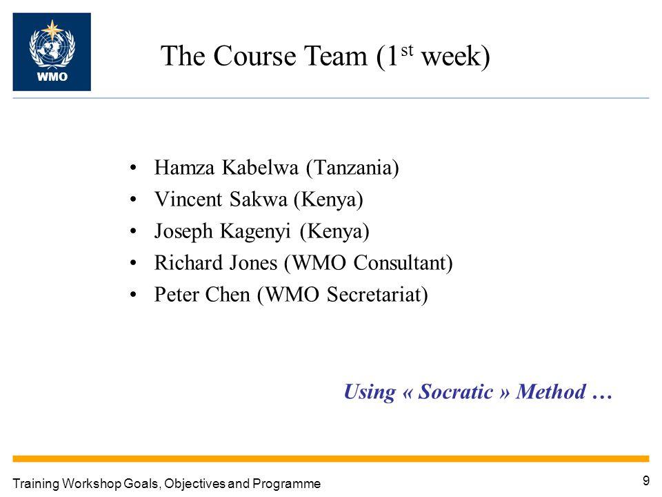9 Training Workshop Goals, Objectives and Programme The Course Team (1 st week) WMO Hamza Kabelwa (Tanzania) Vincent Sakwa (Kenya) Joseph Kagenyi (Kenya) Richard Jones (WMO Consultant) Peter Chen (WMO Secretariat) Using « Socratic » Method …