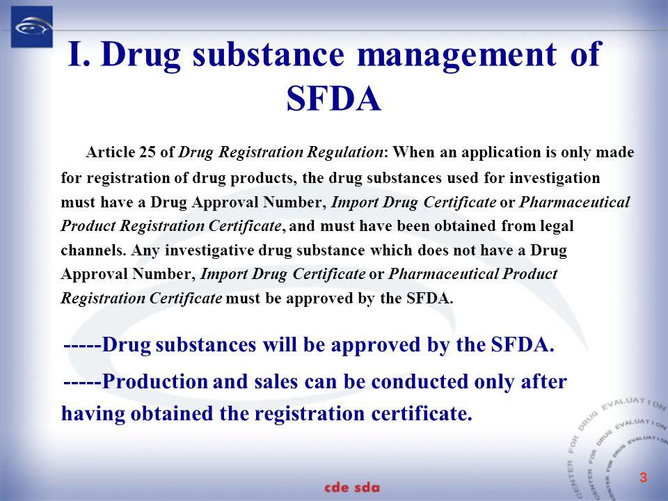 3 I. Drug substance management of SFDA Article 25 of Drug Registration Regulation: When an application is only made for registration of drug products,