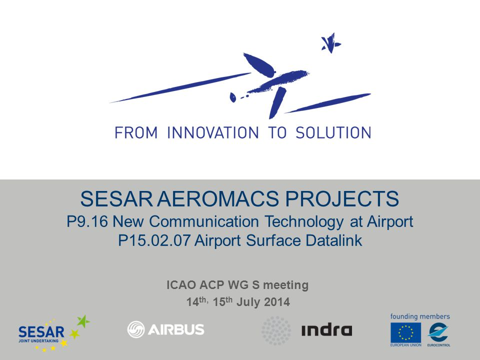SESAR AEROMACS PROJECTS P9.16 New Communication Technology at Airport P15.02.07 Airport Surface Datalink ICAO ACP WG S meeting 14 th, 15 th July 2014
