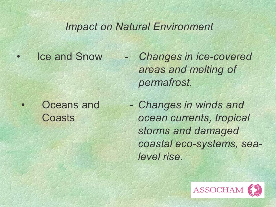 Impact on Natural Environment Ice and Snow-Changes in ice-covered areas and melting of permafrost.