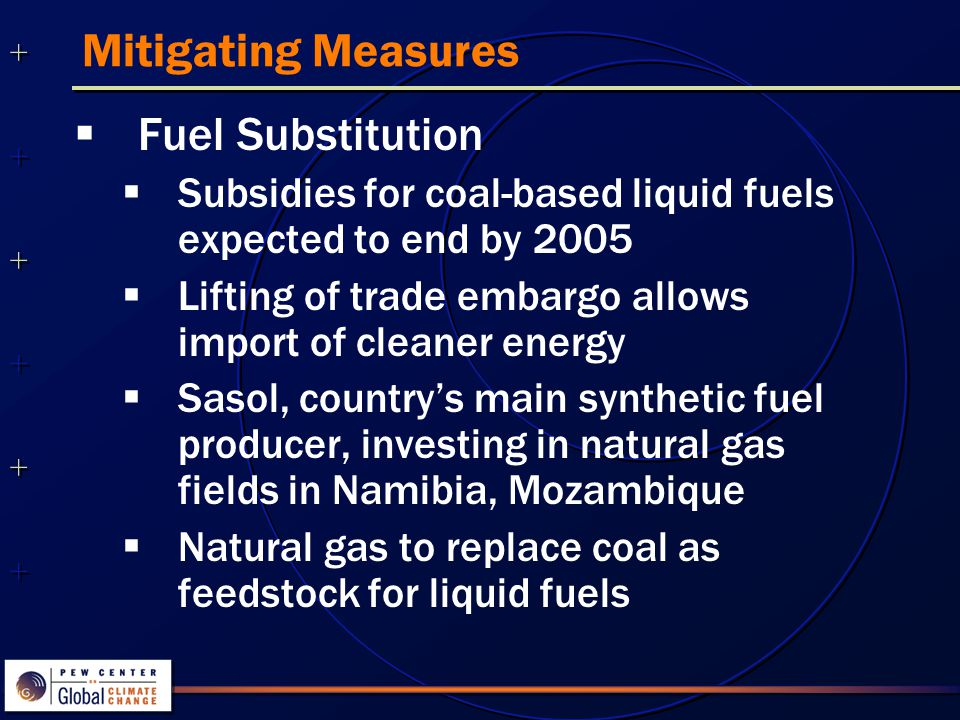 ++++++++++++++ ++++++++++++++ Mitigating Measures  Fuel Substitution  Subsidies for coal-based liquid fuels expected to end by 2005  Lifting of trade embargo allows import of cleaner energy  Sasol, country's main synthetic fuel producer, investing in natural gas fields in Namibia, Mozambique  Natural gas to replace coal as feedstock for liquid fuels