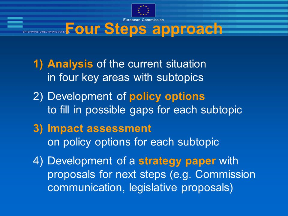Four Steps approach 1)Analysis of the current situation in four key areas with subtopics 2)Development of policy options to fill in possible gaps for each subtopic 3)Impact assessment on policy options for each subtopic 4)Development of a strategy paper with proposals for next steps (e.g.