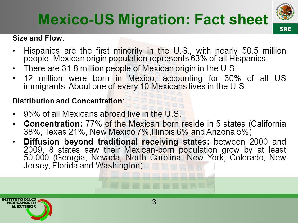 Mexico-US Migration: Fact sheet Size and Flow: Hispanics are the first minority in the U.S., with nearly 50.5 million people.