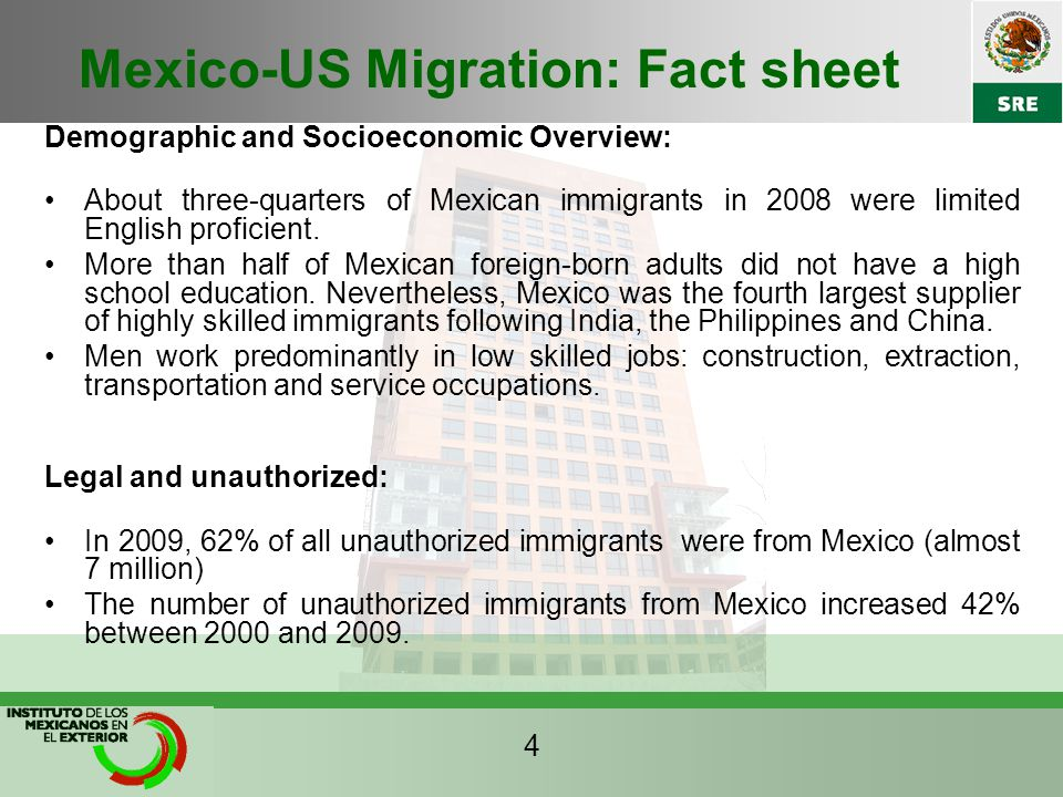 Mexico-US Migration: Fact sheet Demographic and Socioeconomic Overview: About three-quarters of Mexican immigrants in 2008 were limited English proficient.