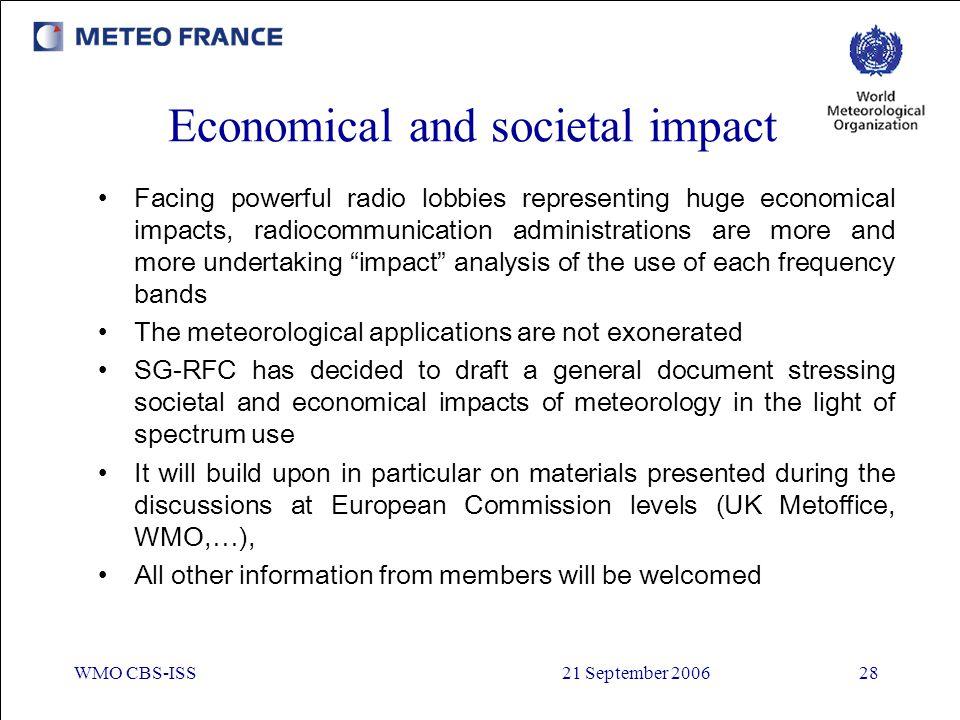 WMO CBS-ISS21 September 200628 Economical and societal impact Facing powerful radio lobbies representing huge economical impacts, radiocommunication a