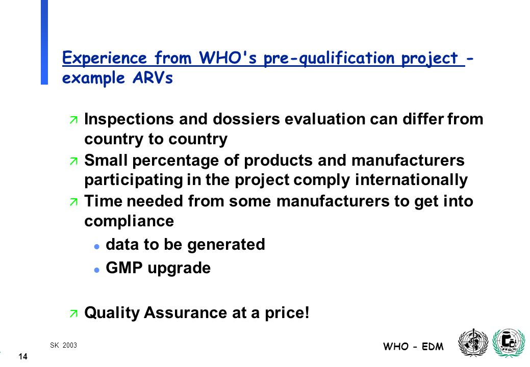 14 WHO - EDM SK 2003 Experience from WHO s pre-qualification project - example ARVs ä Inspections and dossiers evaluation can differ from country to country ä Small percentage of products and manufacturers participating in the project comply internationally ä Time needed from some manufacturers to get into compliance l data to be generated l GMP upgrade ä Quality Assurance at a price!