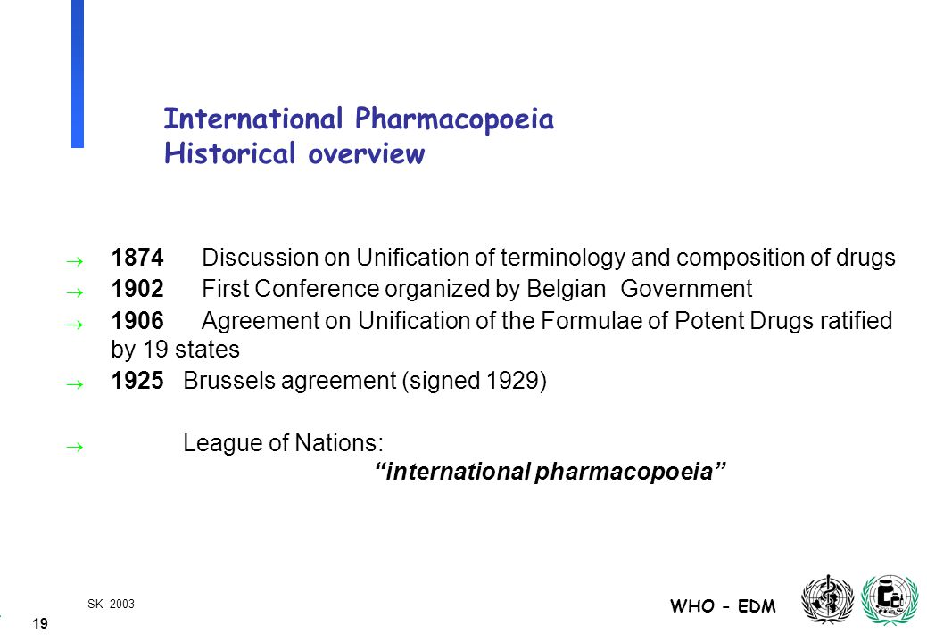 19 WHO - EDM SK 2003 International Pharmacopoeia Historical overview  1874Discussion on Unification of terminology and composition of drugs  1902 First Conference organized by Belgian Government  1906Agreement on Unification of the Formulae of Potent Drugs ratified by 19 states  1925 Brussels agreement (signed 1929)  League of Nations: international pharmacopoeia